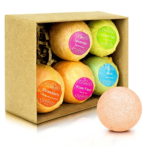 Price comparison product image Bath Bombs Gift Set F-color 6 Unique FDA Certified Handmade Bath Fizzy Balls Spa Kit with Organic Natural Ingredients for Moisturizing Dry Skin & Relaxation, Perfect Gift for Women Mom Kids Teens Men