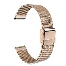 Universal 22mm Quick Release Watch Band, Moko Mesh Stainless Steel Band Strap for Amazfit/Samsung Gear S3 Frontier/S3 Classic/Motorola Moto 360 2nd Gen 46mm/Huawei 2 Classic, Rose Gold