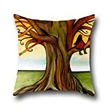 Sweet Sugare Art Tree Cotton Oil Painting Invisible Zipper Pillowcases Baby ( 20*36 )