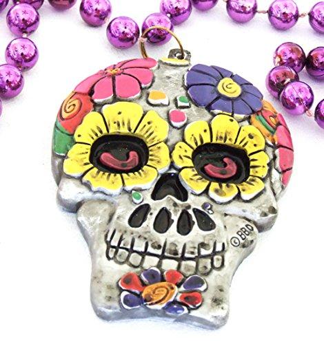 Skull Mardi Gras Beads - Skull & Flowers Mardi Gras Beads New Orleans Bayou Lousianna Cajun Creole Party