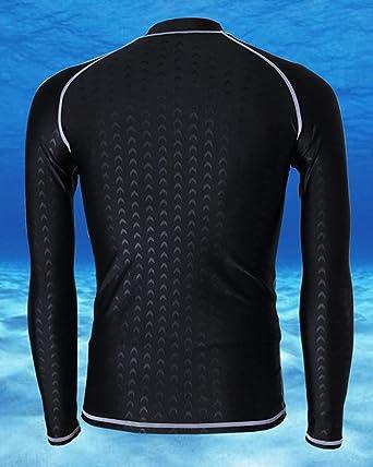 QitunC Herren Lange /Ärmel Badeshirt Neoprenanzug Tops Schnelltrocknend Sonnenschutz Schwimmshirt Rash Guard