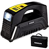 #10: Air Compressor Car Pump - Portable AC/DC 90psi Tire Inflator with Digital Display and LED Flashlight – 12v Cigarette Lighter Cord and 110v Home Cord - 30 Liters/Min – by Kensun