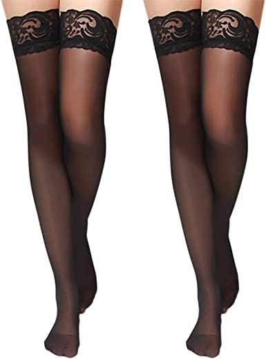 Black Thigh High Shiny Fishnet Top Hold-up Stockings One Size S M 8-12