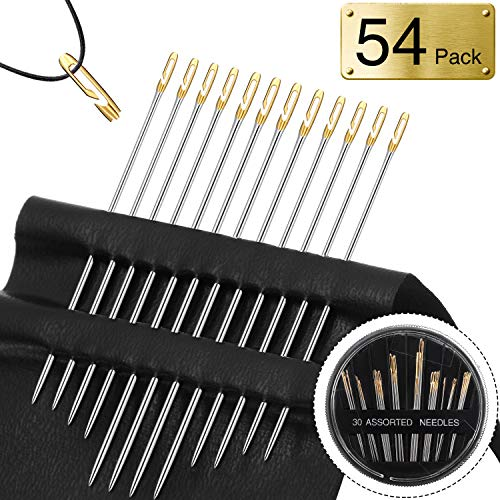 24 Pieces Blind Needles Self Threading Needles in Assorted Sizes with 30 Pieces Assorted Hand Needles Easy to Go Through from Side Embroidery Tool for DIY Needlework Normal Type and Sewing