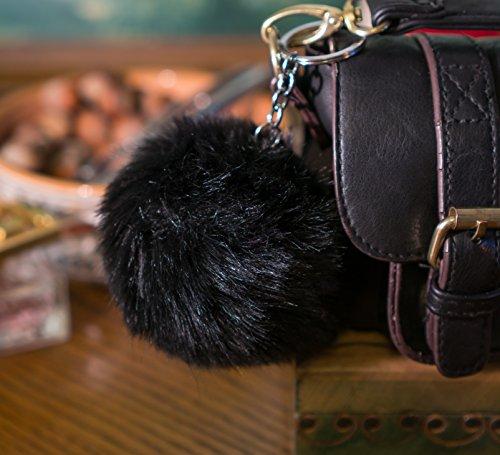 Black 10cm Faux Vegan Fur ECO Pompom Keyring Keychain Handbag Charm Silver ()