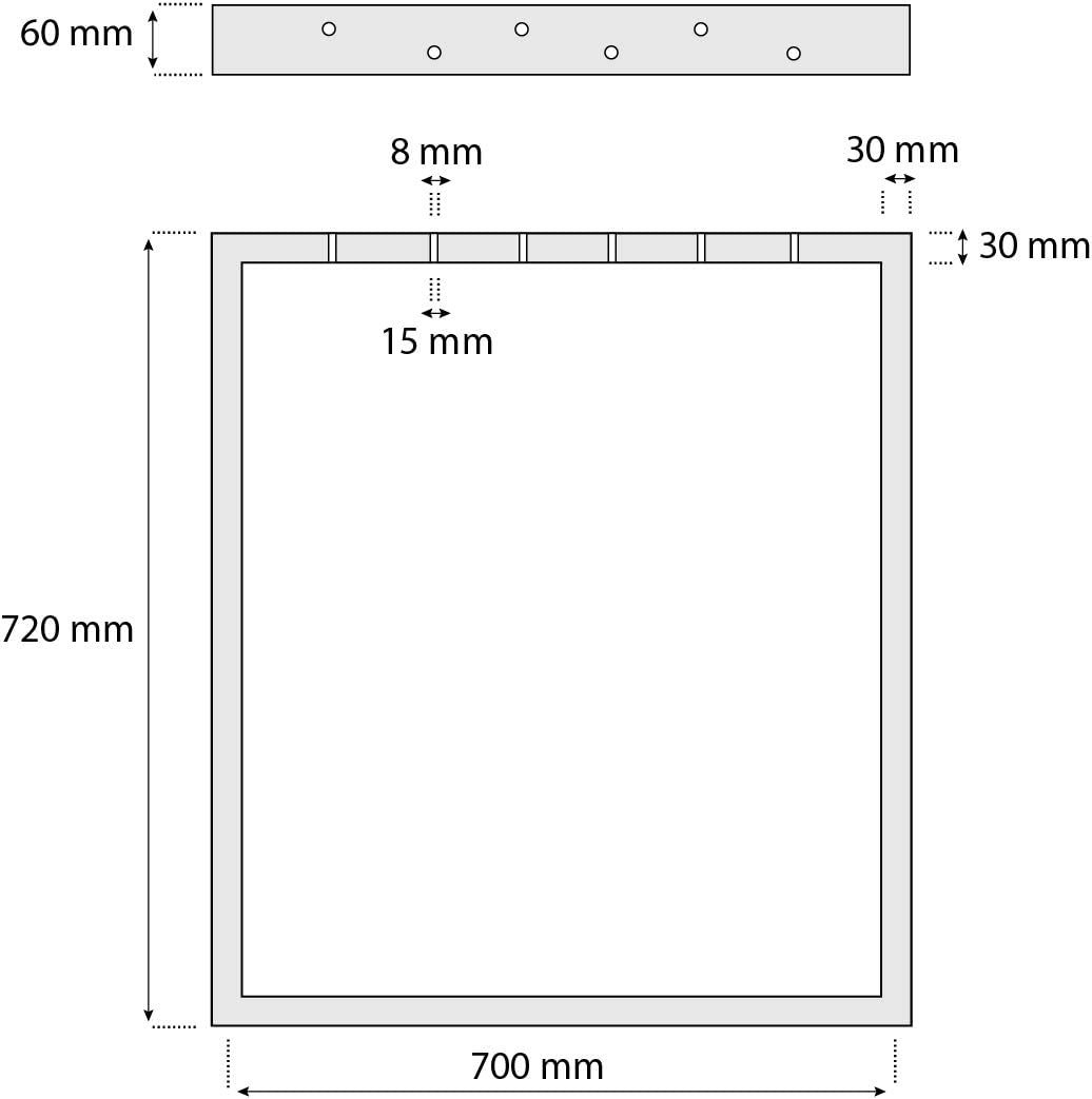 Blanco Tr/áfico HLT-03-G-FF-9016 Tama/ño 80x72 cm HOLZBRINK 1x Pata de Mesa en Forma de X Perfiles de Acero 60x60 mm