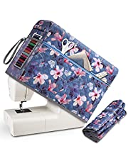 FINPAC Sewing Machine Dust Cover, Scratch-Resistant Protective Storage Case with Side Handle and Sewing Essentials Pockets Compatible with Standard Singer, Brother and Janome Machines