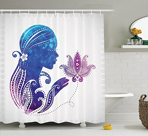 [Teen Girls Decor Shower Curtain Set GirlS Silhouette With Flowers On Her Hair Floral Ornaments Meditation Spa Artwork Bathroom Accessories Purple Blue] (Shell Soon See Her Feet)