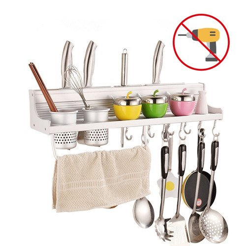 Fecihor Kitchen Wall Pan Rack Spice Rack - 5 in 1 Wall Mounted Pan Hooks & Utensils Cutlery Cups & 4 Knife Holder & Spice Organizer & Towel Rack for Space-Saver (23inch,2 cups) (Wall Holder Utensil Mounted)