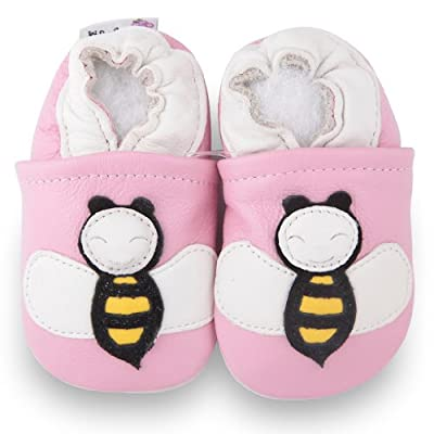 Kidzuu Soft Sole Baby Infant Leather Crib Shoes Pink Bee