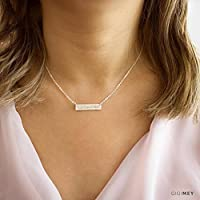 Personalized Engraved Horizontal Bar Necklace 25x6 Millimeter