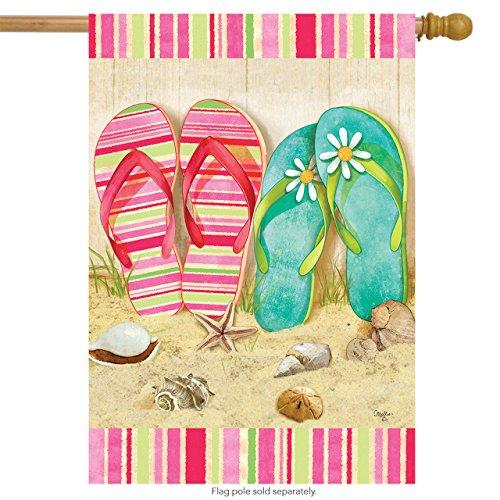 Briarwood Lane Flip Flop Summer House Flag Seashells Beach Starfish 28