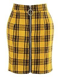 Simaer Women's High Waist School Tartan Mini Plaid Skirts Zipper Down