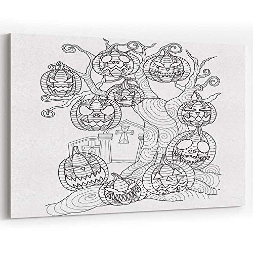 Actorstion Hand Drawn Halloween Pumpkin on The Dead Tree for Adult Coloring Page Canvas Art Wall]()