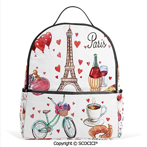 3D Printed Pattern Backpack Paris Illustration of Hearts Eiffel Tower Red Wine Coffee Perfume Romance Themed Art,Red Brown,Adorable Funny Personalized Graphics