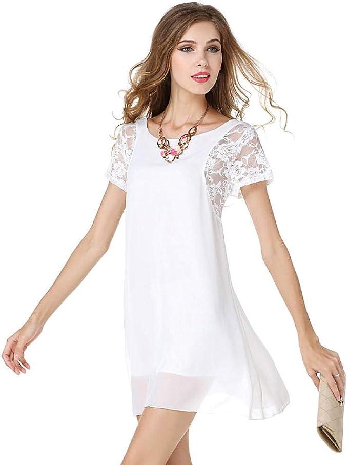 NKJBUVT Damen Weiß Panel Kurzarm Spitze Chiffon Kleid