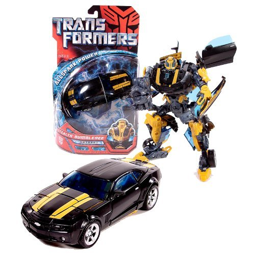 Stealth Bumble Bee - Transformers Hasbro Year 2007 Movie All Spark Power Series Deluxe Class 6 Inch Tall Robot Action Figure - Autobot STEALTH BUMBLEBEE with Cannon that Converts to Blade (Vehicle Mode: Camaro Concept)