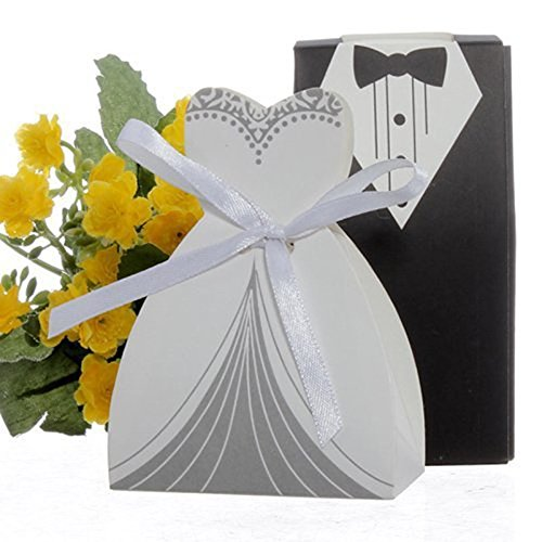 NszzJixo9 100pcs Tuxedo & Dress Groom Bridal Wedding Party Favor Gift Ribbon Creative Dress Candy Chocolate Gift Box Bonbonniere Wedding Party Birthday Bridal Shower Decoration ()