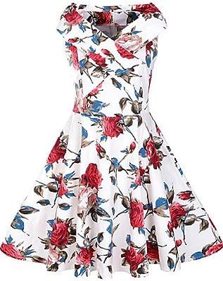 DESY Mujer Vaina Vestido Casual/Diario Vintage,Floral Escote Barco ...