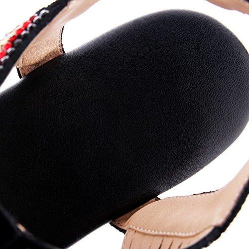 Split Sandals Black Womens AllhqFashion Soft Material Heel Buckle Solid Toe No qxAtSaz