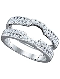 14kt White Gold Womens Round Diamond Wrap Ring Guard Enhancer Wedding Band 1/2 Cttw