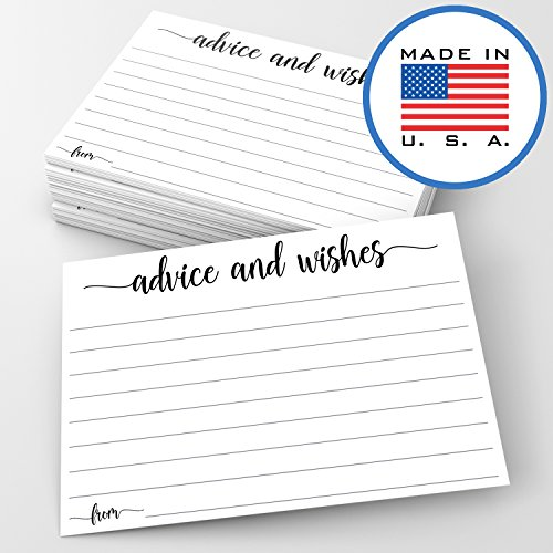 321Done Advice and Wishes Cards (Pack of 50) Blank Well Wishes for Wedding, Bridal, Mr and Mrs, Retirement, Baby Shower - Words of Wisdom - Made in USA, White