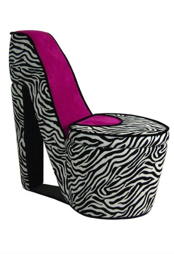 (ORE International AHB4258R High Heel Storage Chair, Pink Zebra)