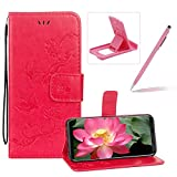 Strap Leather Case for Samsung Galaxy S8 Plus,Hot Pink Wallet Leather Cover for Samsung Galaxy S8 Plus,Herzzer Classic Pretty Butterfly Lotus Drawing Embossed Magnetic PU Leather Foldable Stand Card Holders Smart Telephone Case with Soft Inner