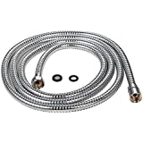 Purelux 100 Inch Extra Long Double Lock Stainless Steel Replacement Shower Hose with Brass Fittings, Chrome Finish