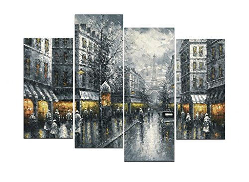 Wieco Art Paris Street Canvas Prints Wall Art By Black and White Europe City Buildings Oil Paintings Reproduction Picture for Home Decorations Large Modern 4 Panels Framed Giclee Cityscape Artwork (European Art Painting)