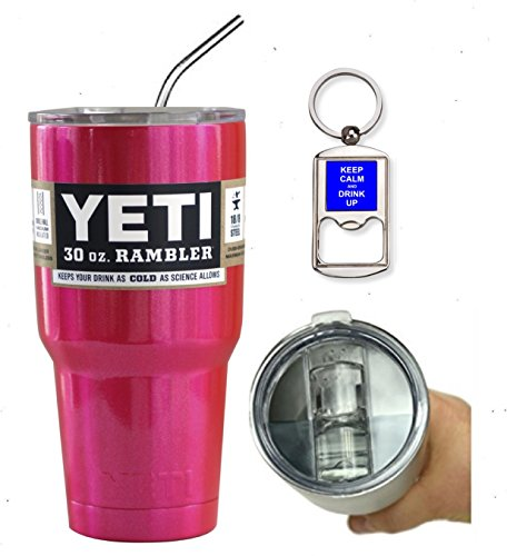 YETI Custom 30 oz (30oz) Insulated Rambler Travel Tumbler Cup Mug Bundle (Includes Spill Proof Slider Lid, Bottle Opener Keychain and Stainless Steel Straw) (Pink Glitter)