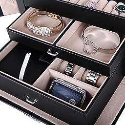 Songmics UJBC121B Box Girls Jewelry Organizer Mirr