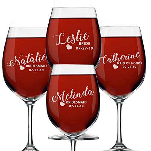 Set of 1 2 3 4 5 6 7 8 Custom Engraved Bridesmaid Wine Glasses with Stem  Passion Style 4