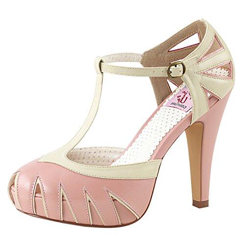 Pin Up Couture - Retro Foodwear Pumps mit Riemchen Pink/Cremefarben BETTIE-25