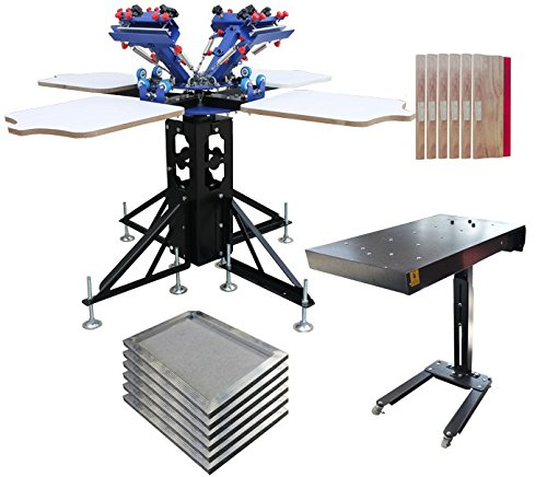 4 Color 4 Station Screen Press & Flash Dryer Package Kit D - 006989 w/ Stretched Aluminum Screen Frame and Squeegee by Screen Printing Kit