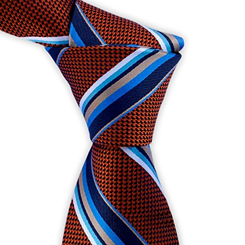 Burnt Orange Silk Tie with Light Blue and Navy Blue Stripes by TieThis | (Spot Woven Silk Mens Tie)