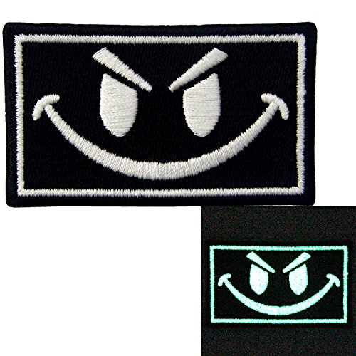 EmbTao Glow In Dark Evil Smiley Smile Face Isaf US Army Milspec Swat Embroidered Iron On Sew On