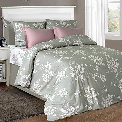 (LikeaHome Floral Duvet Cover Set & Fitted Sheet 100% Cotton 4-pc Bed Set with Button Closure & Corner Ties, Uvisni Bedding Collection Made in Europe, Leaves Print (Full/Queen size,)