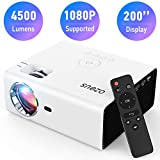 AZEUS RD-822 Video Projector, 4500 Lux Support 1920x1080 with Built-in 5W Sound Speaker, Compatible with PS4, HDMI, VGA, USB, Laptop, Phone, TV Box, Mini Portable HDMI Projector [2020 Upgrade Model]