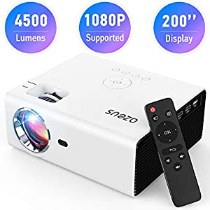 AZEUS RD-822 Video Projector, 5000 Lux Support 1920×1080 with Built-in 5W Sound Speaker, Compatible with PS4, HDMI, VGA…