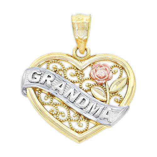 (Charm America - Gold Grandma Banner in Heart Charm - 14 Karat Solid Gold)