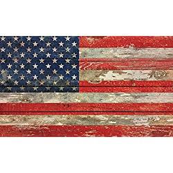 American Flag Distressed 24 x 14 Inch Solid Pine Wood Pallet Wall Plaque Sign