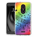 Slim-Fit Case for T-Mobile Revvl PLUS, One Tough Shield Scratch-Resistant TPU Protective Phone Case - Music Notes/Rainbow
