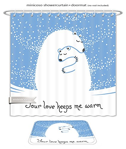 Minicoso Bath Two Piece Suit: Shower Curtains and Bath Rugs Greeting Card With Mother Bear Hugging Her Baby Your Love Keeps Me Warm Vector Illustration Shower Curtain and Doormat - Your Show Me Lines Tan