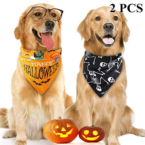 Skeleton Bandana Halloween (Legendog 2PCS Halloween Dog Bandana, Pet Bandana, Halloween Dog Bibs, Triangle Bandana Bib for Dogs)