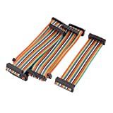 Uxcell Rainbow IDC Flat Ribbon Cable Connector, F/F, 15 cm, 26 Pin, 26 Way, 6 Pieces