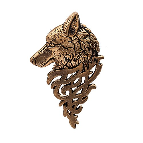 Brooch Pin Art Nouveau (Art Nouveau Dire Wolf Head Coyote Antique Aztec Costume Lapel Brooch Pin Badge (Ancient Gold))