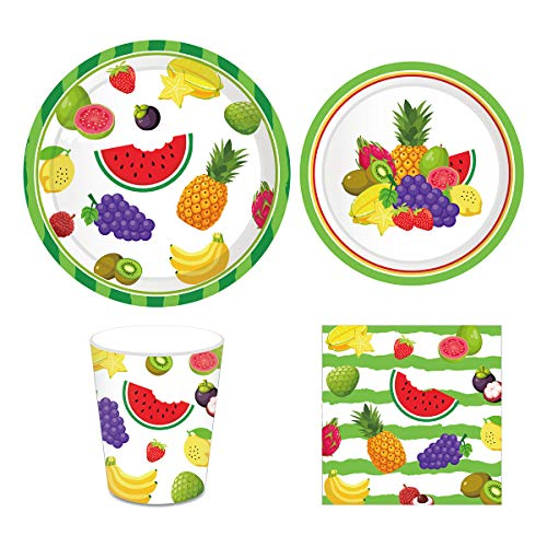 Fruit Party Supplies Pack for 16 Guests Including Lunch Dinner Plates, Dessert Plates, Lunch Napkins, Cups for Baby Shower Luau Fruit Theme birthday Party Decorations