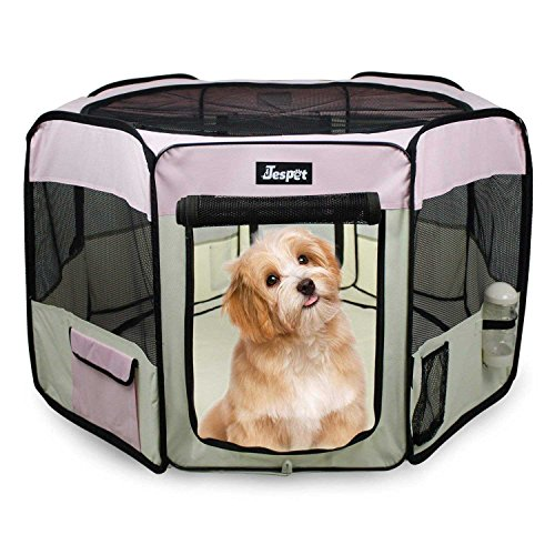 Jespet 61'' Pet Dog Playpens, Portable Soft Dog Exercise Pen Kennel with Carry Bag for Puppy Cats Kittens Rabbits,Pink by Jespet (Image #7)