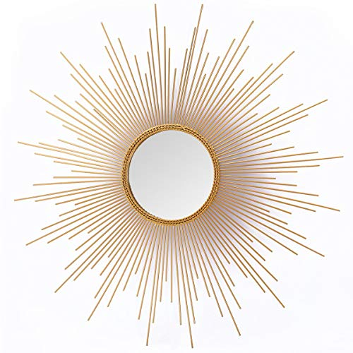 Asense Home Collection Sunburst Mirror, Classic Metal Decorative Wall Mirror (Sunburst)